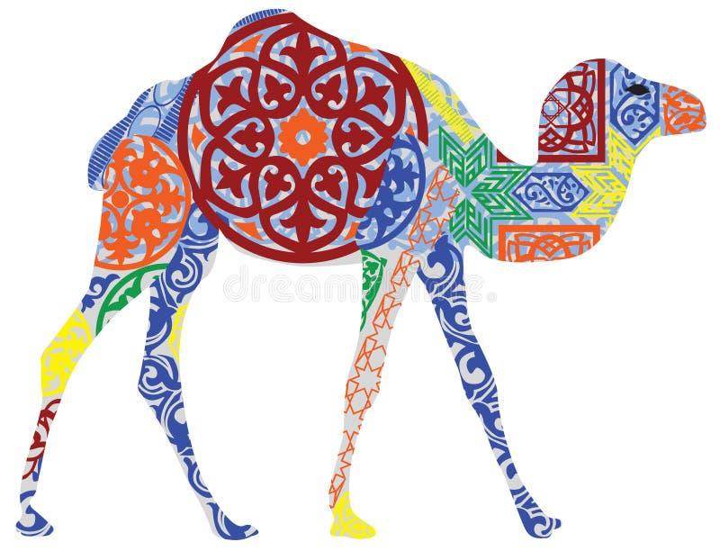 Wielbłąd w Arabskim ornamencie ilustracja wektor