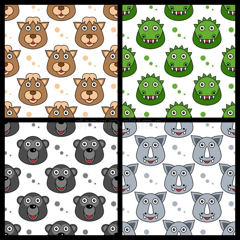 Wielbłądzia krokodyla goryla nosorożec Bezszwowa ilustracja wektor