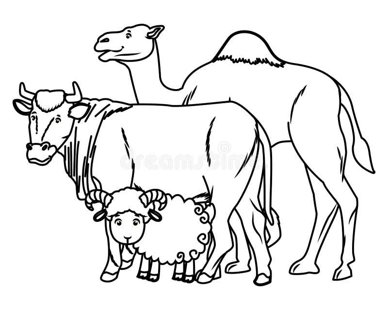Wielbłądzie krowy i kózki zwierząt kreskówki w czarny i biały ilustracji