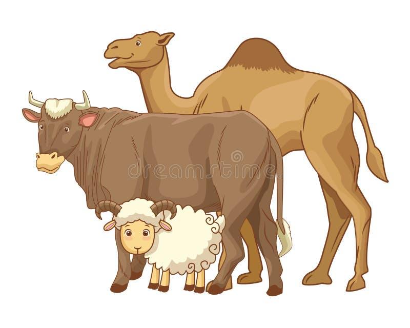 Wielbłądzie krowy i kózki zwierząt kreskówki ilustracji