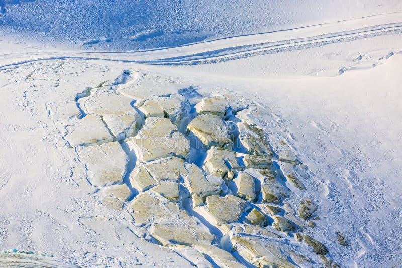 Wielcy crevasses i seracs na Gornergletscher zdjęcia stock
