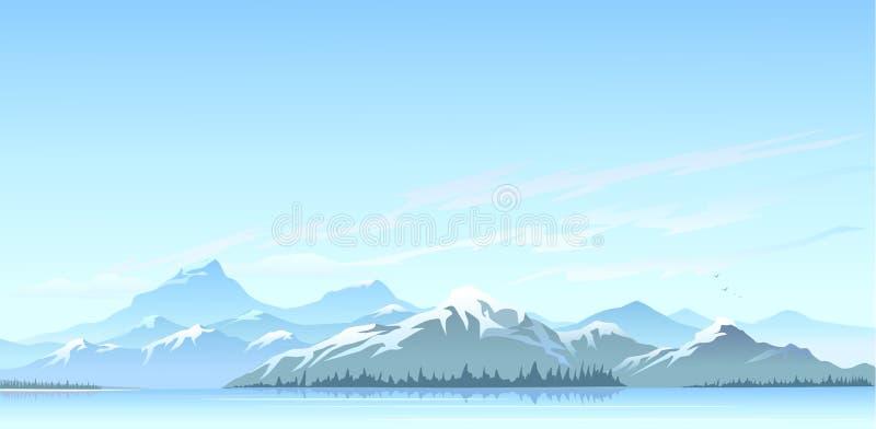 Wielcy Himalajscy śniegów szczyty i zimnej wody jezioro ilustracja wektor