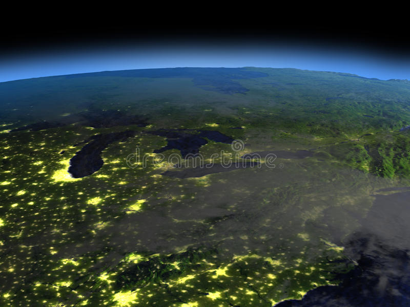 Wielcy jeziora przy nocą royalty ilustracja
