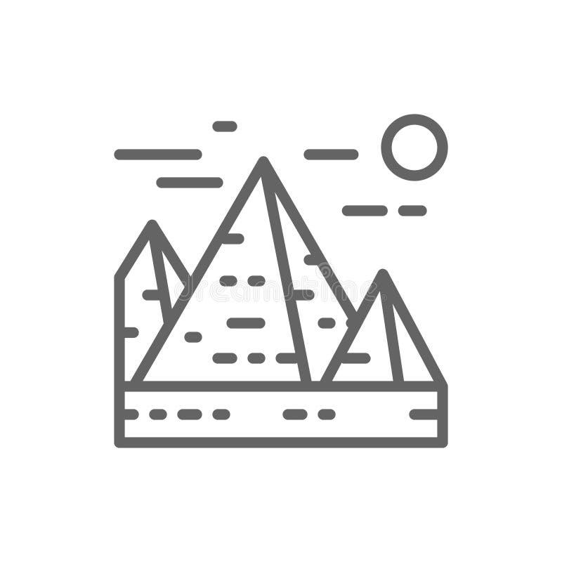 Wielcy ostros?upy w Giza, Egipt, punkt zwrotny kreskowa ikona ilustracja wektor