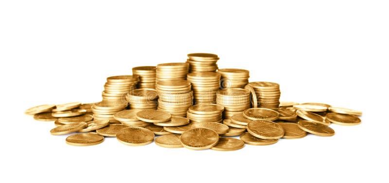 Wiele błyszczące złociste monety obraz stock