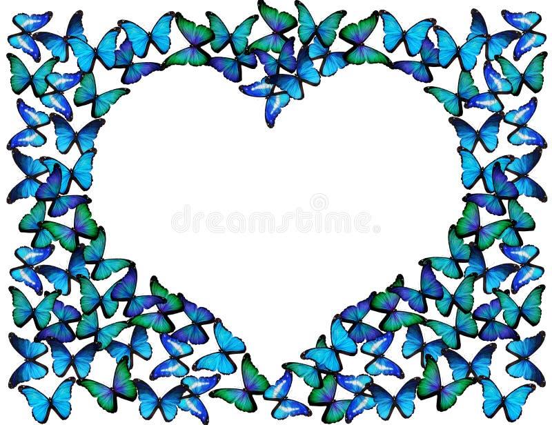 Wiele błękitni motyle robią ramie serce ilustracji