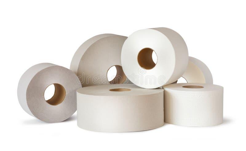 Wiele białe papier toaletowy rolki obraz stock