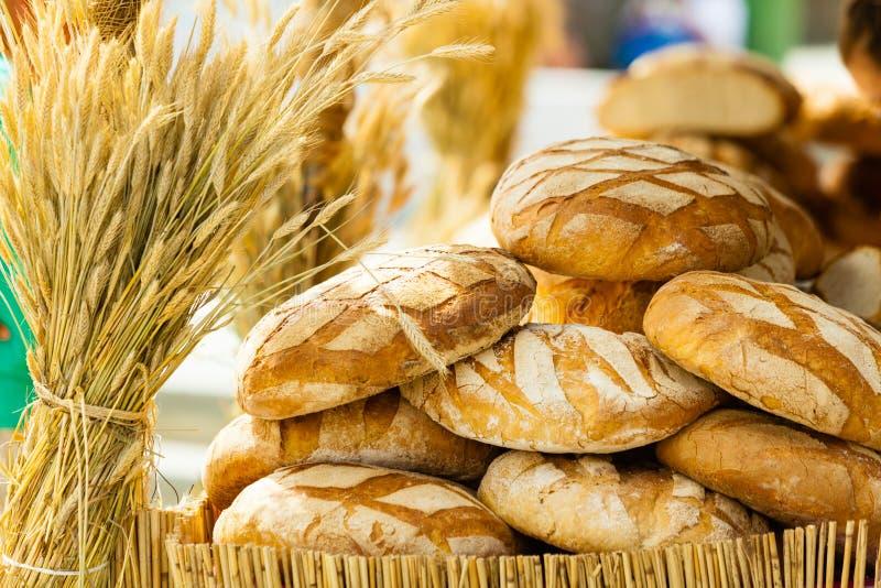 Wiele brown nieociosani świezi żyto chleba bochenki fotografia royalty free