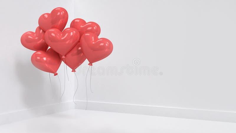 Wiele czerwony serce balon unosi się w białym pokoju 3d odpłaca się royalty ilustracja