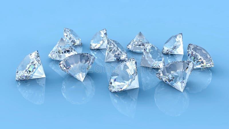 Wiele diamenty rozlewający na błękitnym odbijającym biurku ilustracja wektor
