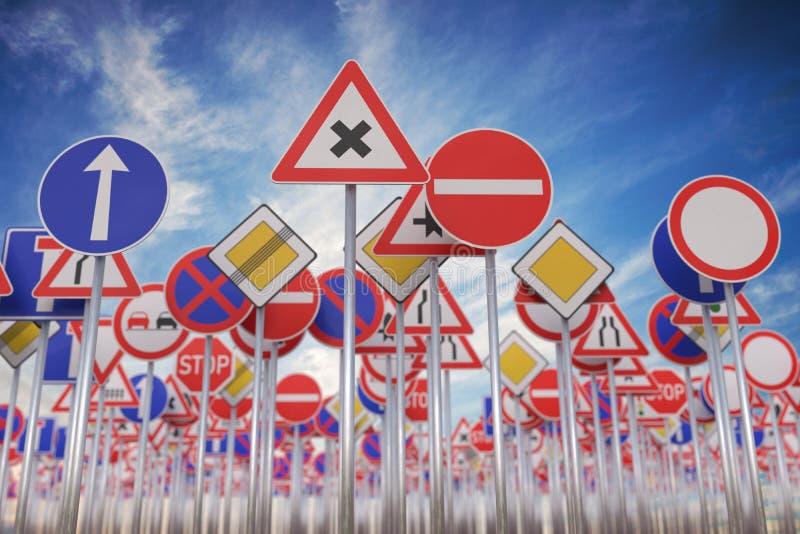 Wiele drogowi znaki przeciw niebieskiemu niebu ilustracja pozbawione 3 d ilustracja wektor