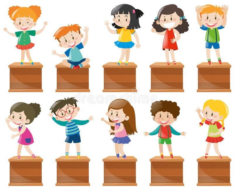 Wiele dzieciaków stojak i siedzi na pudełku royalty ilustracja