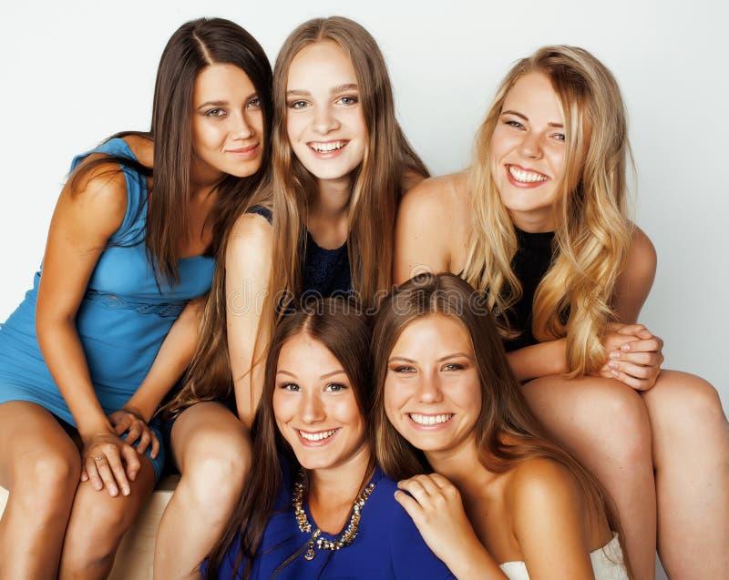 Wiele dziewczyny ściska świętowanie na bielu fotografia stock