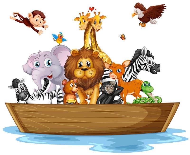 Wiele dzikie zwierzęta na rowboat ilustracji