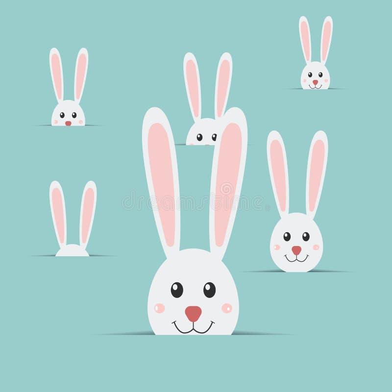 Wiele Easter króliki odizolowywający na błękitnym tle Wielkanoc królik Wielkanoc karty szczęśliwy Wektorowy illustrat royalty ilustracja