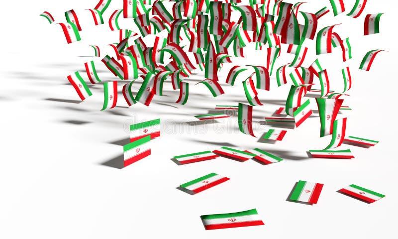 Wiele flagi od Iran i notatki spadają ziemia royalty ilustracja