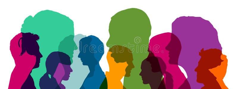 Wiele głowy jako drużyna w różnych jaskrawych kolorach royalty ilustracja