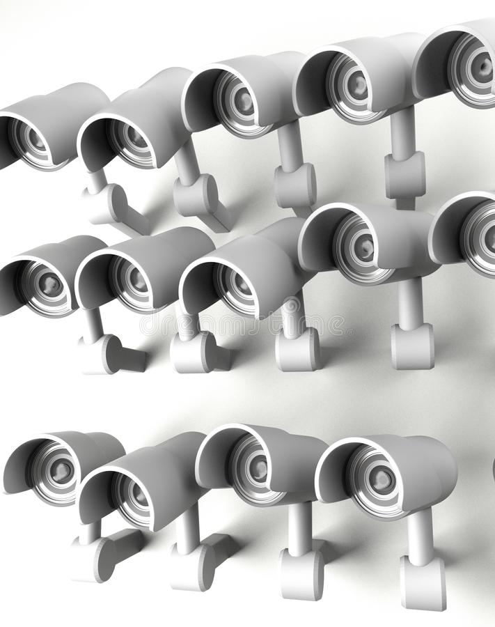 Wiele kamery bezpieczeństwe na mieście, wielki brat ogląda ciebie Inwigilaci CCTV kamera ?wiadczenia 3 d ilustracji