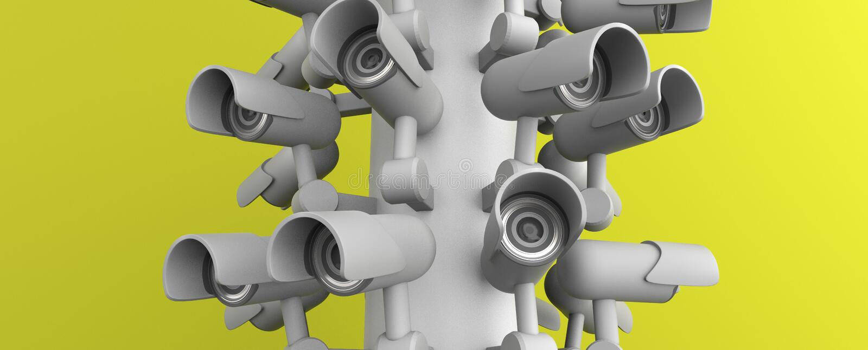 Wiele kamery bezpiecze?stwa na miasto filarze, wielki brat ogl?da ciebie Inwigilaci CCTV kamera ?wiadczenia 3 d royalty ilustracja