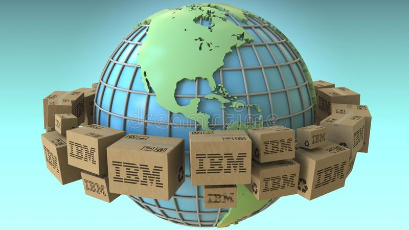 Wiele kartony z IBM logo dookoła świata, Ameryka uwydatniali Konceptualny artykułu wstępnego 3D rendering royalty ilustracja