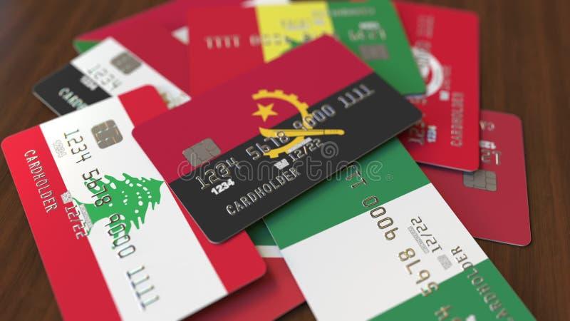 Wiele karty kredytowe z r??nymi flagami, podkre?lona bank karta z flag? Angola ?wiadczenia 3 d royalty ilustracja