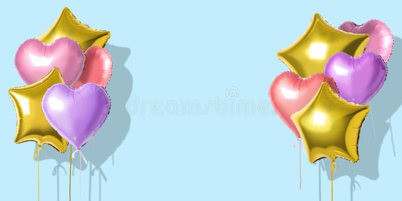 Wiele kolorowi hel folii balony różni kształty nad jaskrawym tłem Minimalny Wakacyjny pojęcie ilustracji