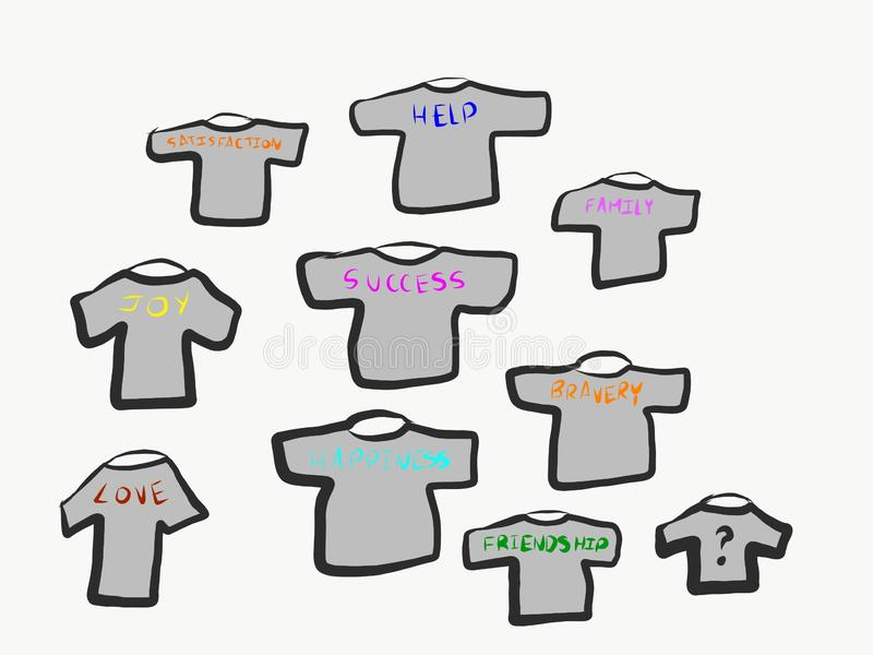 Wiele koszula gdy przetarte ekspresowe myśli i wizerunki royalty ilustracja