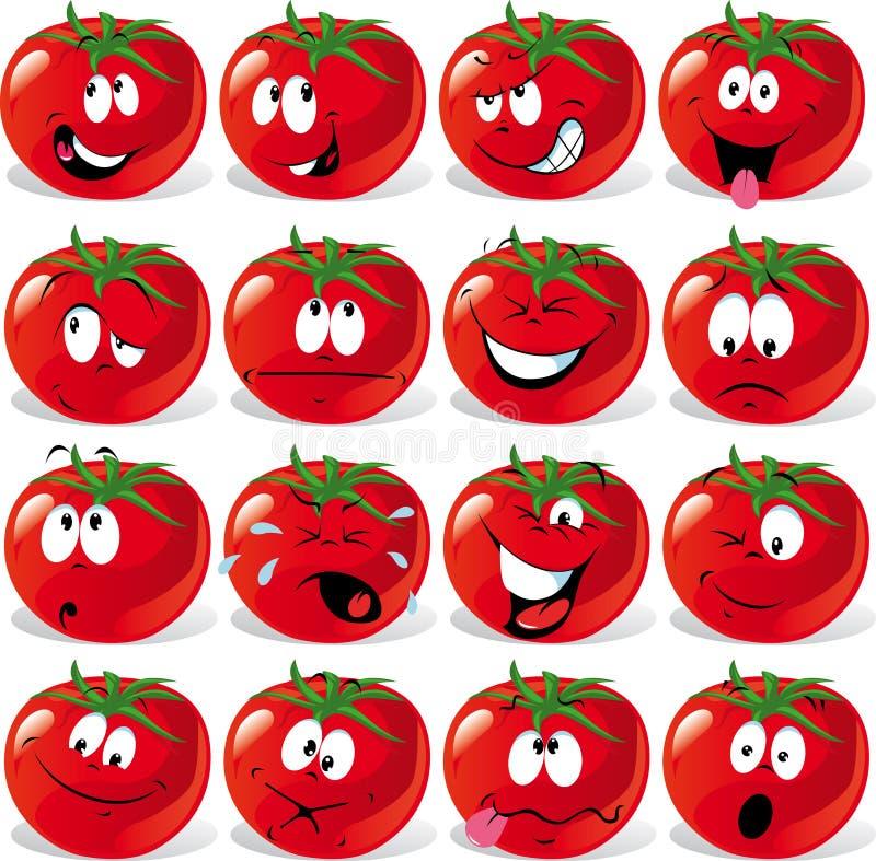 wiele kreskówek wyrażenia pomidor royalty ilustracja