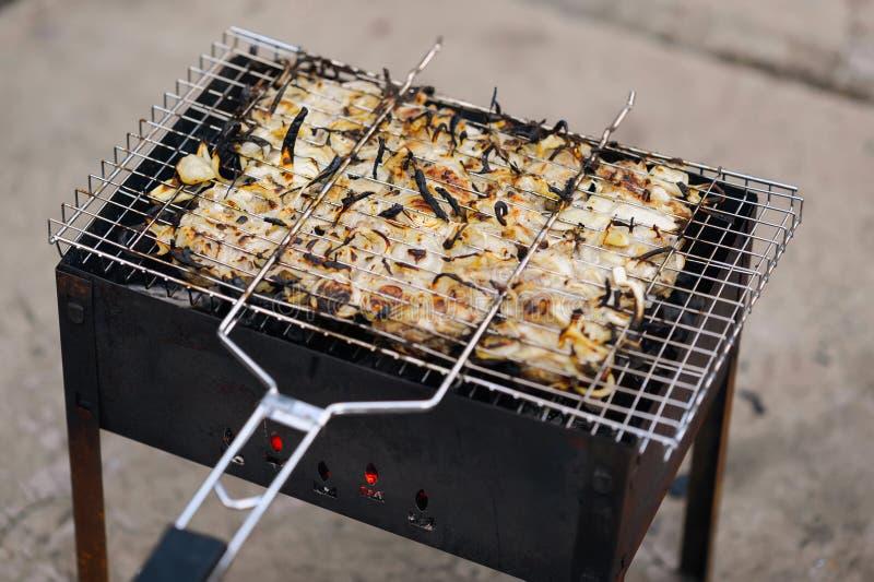 Wiele kurczak pieczeni mięsa kawałki z cebulą na grillu obrazy royalty free