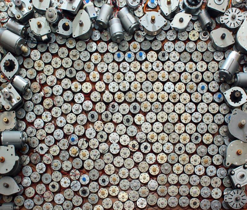 Wiele mali silniki od starego komputerowego wyposażenia zdjęcie stock