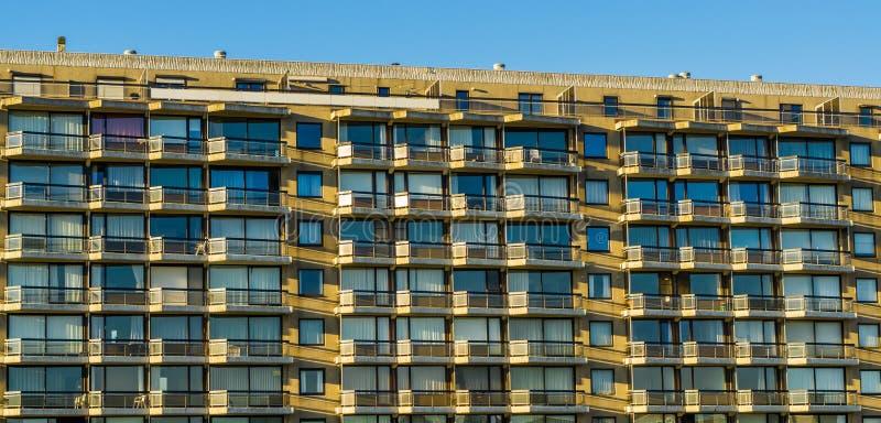 Wiele mieszkania w dużym miasto budynku, balkony z okno, belgijska architektura fotografia royalty free