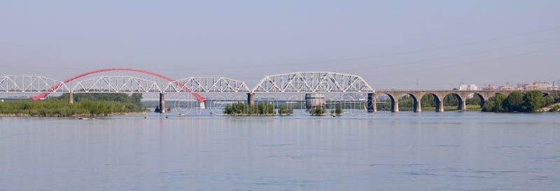 Wiele mosty przez Ob rzekę zdjęcia royalty free