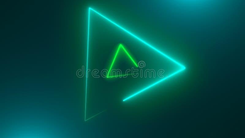Wiele neonowi trójboki w przestrzeni, abstrakcjonistyczny komputer wytwarzający tło, 3D odpłacają się ilustracji