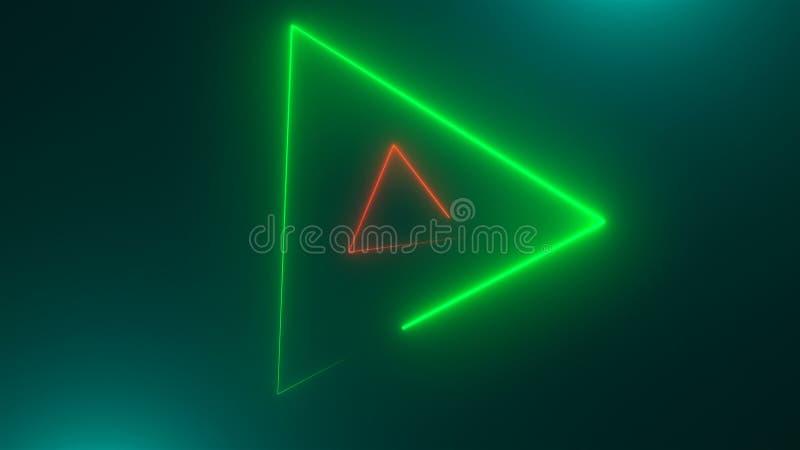 Wiele neonowi trójboki w przestrzeni, abstrakcjonistyczny komputer wytwarzający tło, 3D odpłacają się ilustracja wektor