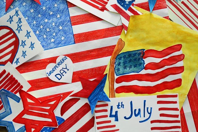 Wiele obrazy Amerykańska flaga państowowa, odgórny widok gwiazda b??kitny ?wi?towania Lipiec czerwone gwiazdy bia?y zdjęcia royalty free