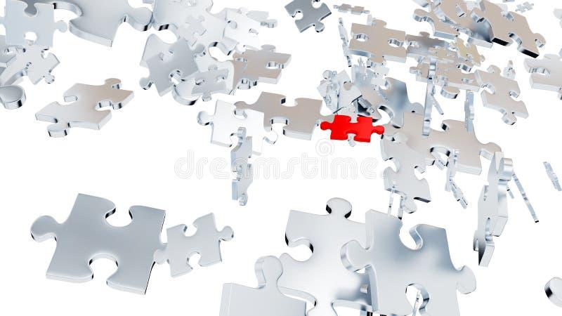 Wiele Popielaci łamigłówka kawałki w chaosach z Jeden Czerwonym kawałkiem ilustracja wektor