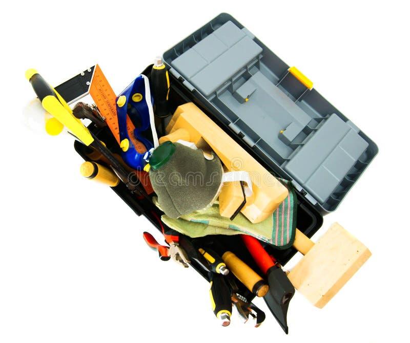 Wiele pracujący narzędzia w pudełku na białym tle zdjęcia stock