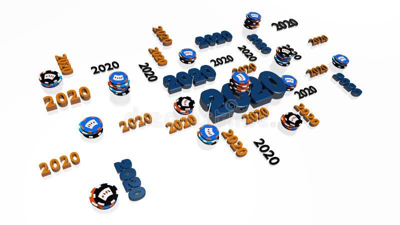 Wiele projektów z serii Poker Chips 2020 z kilkoma celami royalty ilustracja