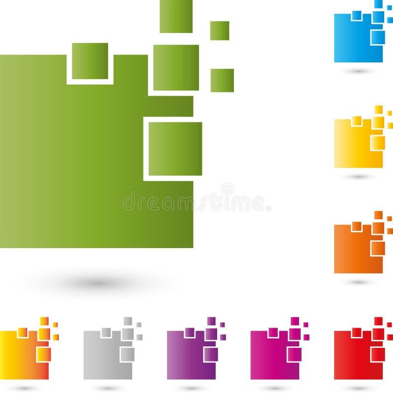 Wiele prostokąty, piksle, dane i IT usługa logo, ilustracji
