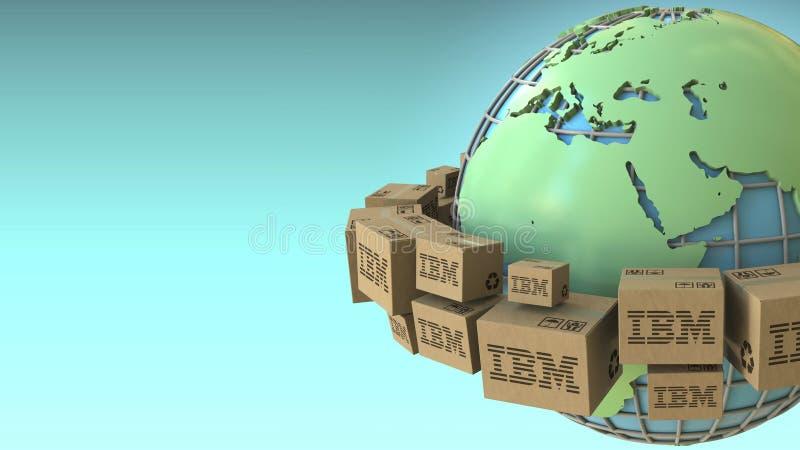 Wiele pudełka z IBM logo dookoła świata, Europa i Afryka, uwydatniali Konceptualny artykułu wstępnego 3D rendering ilustracja wektor
