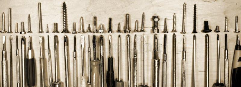 Wiele różnorodne śruby i zdjęcie stock