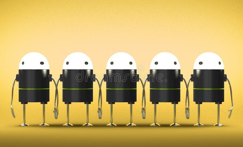 Wiele roboty z jarzyć się głowy trzyma ręki royalty ilustracja