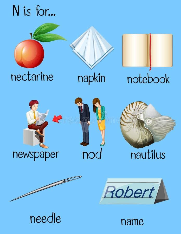 Wiele słowa zaczynają z listowym N royalty ilustracja