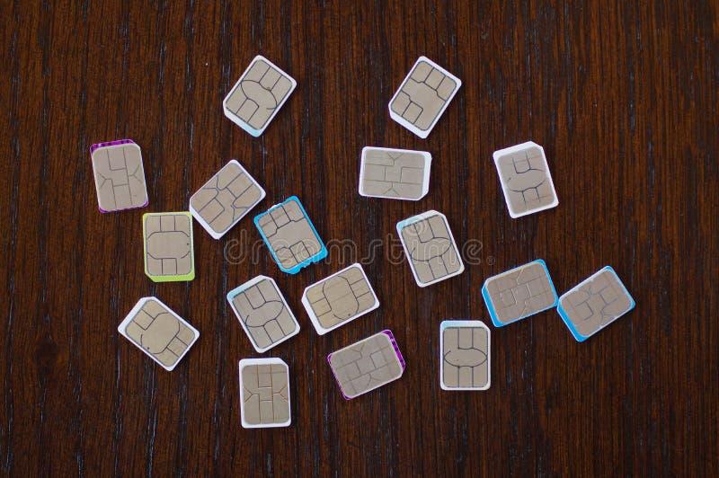 Wiele sim karty wybierać zdjęcia stock