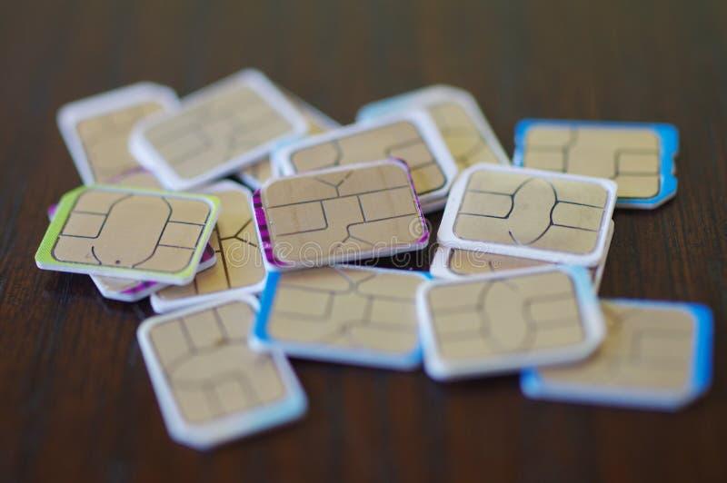 Wiele sim karty wybierać fotografia royalty free