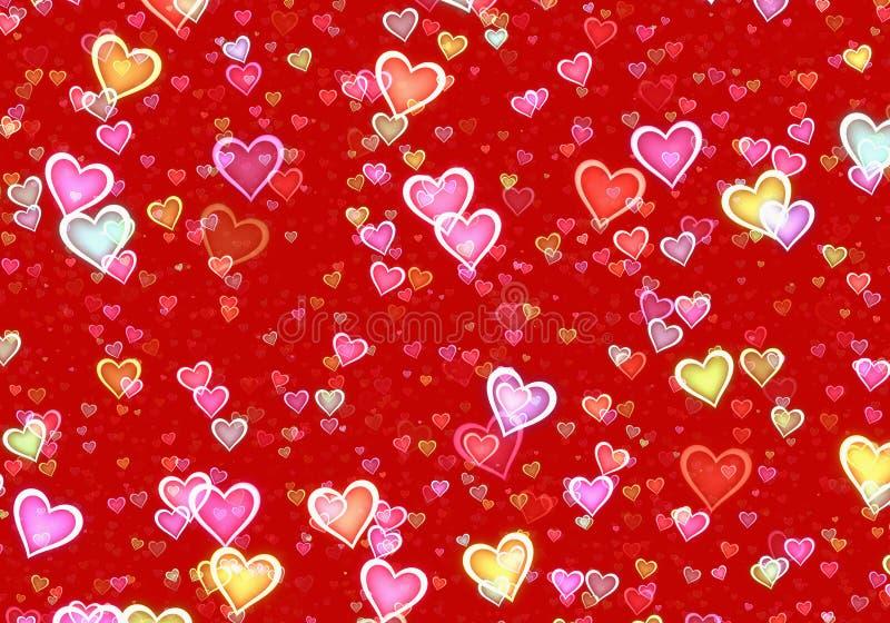 Wiele stubarwni serca na czerwonym tle royalty ilustracja