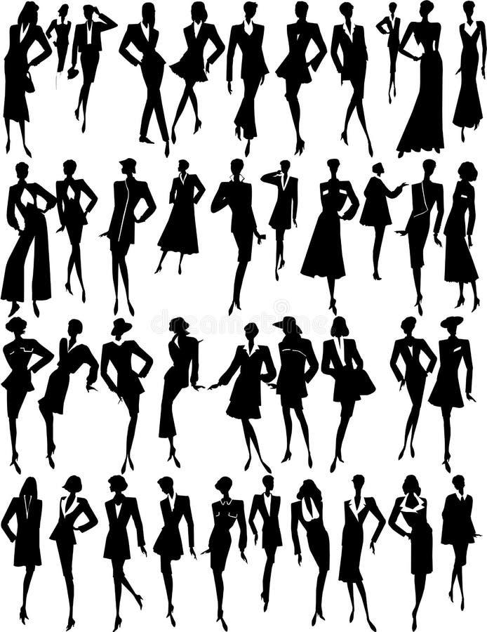 wiele sylwetek kobieta ilustracja wektor