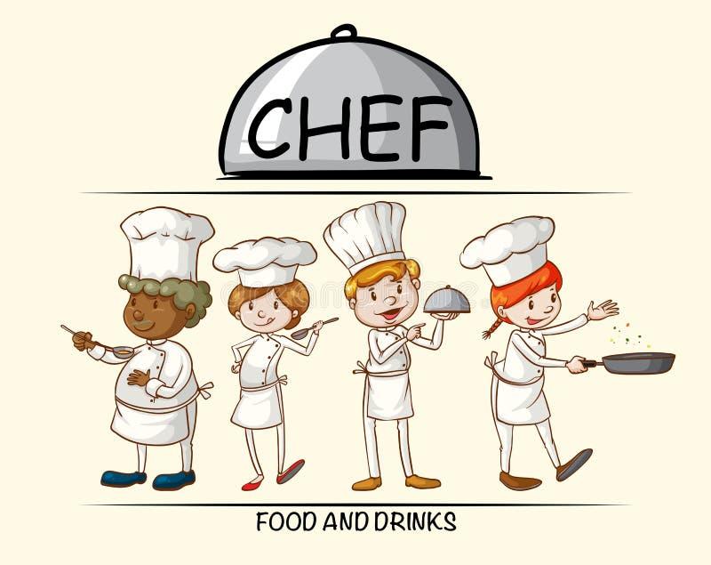 Wiele szefowie kuchni gotuje jedzenie ilustracji