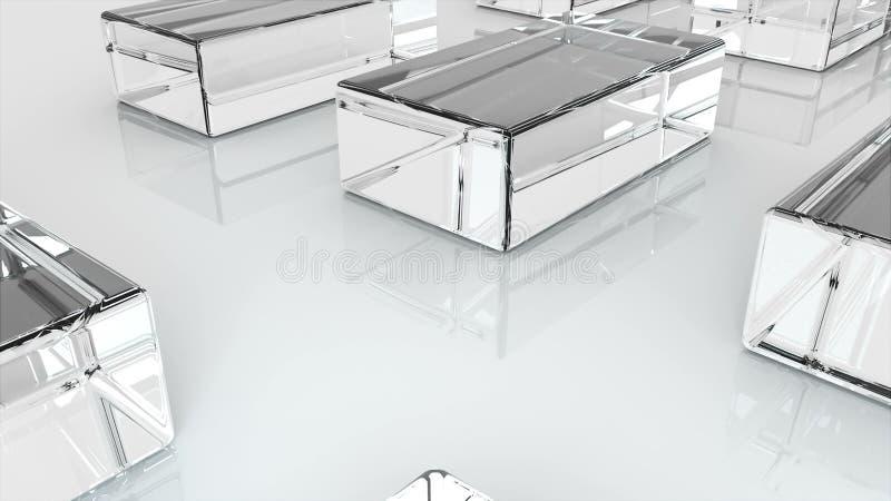 Wiele szklani kostka lodu lub sze?ciany s? na p?askiej powierzchni, 3d odp?acaj? si?, komputer wytwarzaj?cy przemys?owy t?o ilustracja wektor