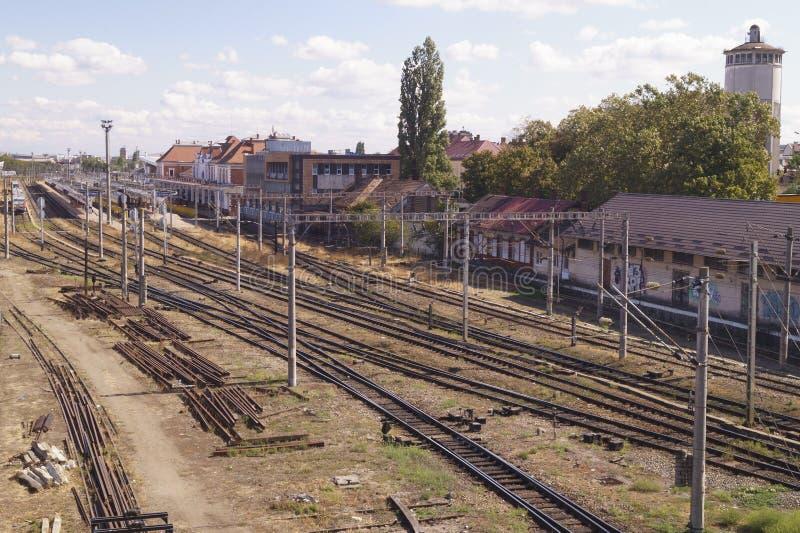 Wiele torów kolejowych na stacji Cluj Napoca, Kolozsvar, Klausenburg, Transylvania, Rumunia zdjęcia royalty free